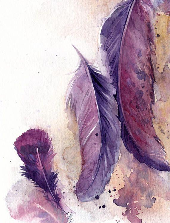 Federn Original Aquarell Malerei Lila Rosa Aquarell Kunst Federn