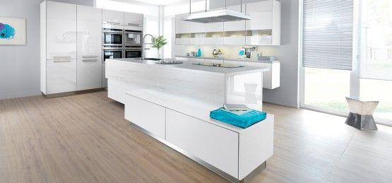 Cuisine schmidt strass blanche laque brillante avec parquet au sol cuisines blanches pinterest - Cuisine blanche laquee ...