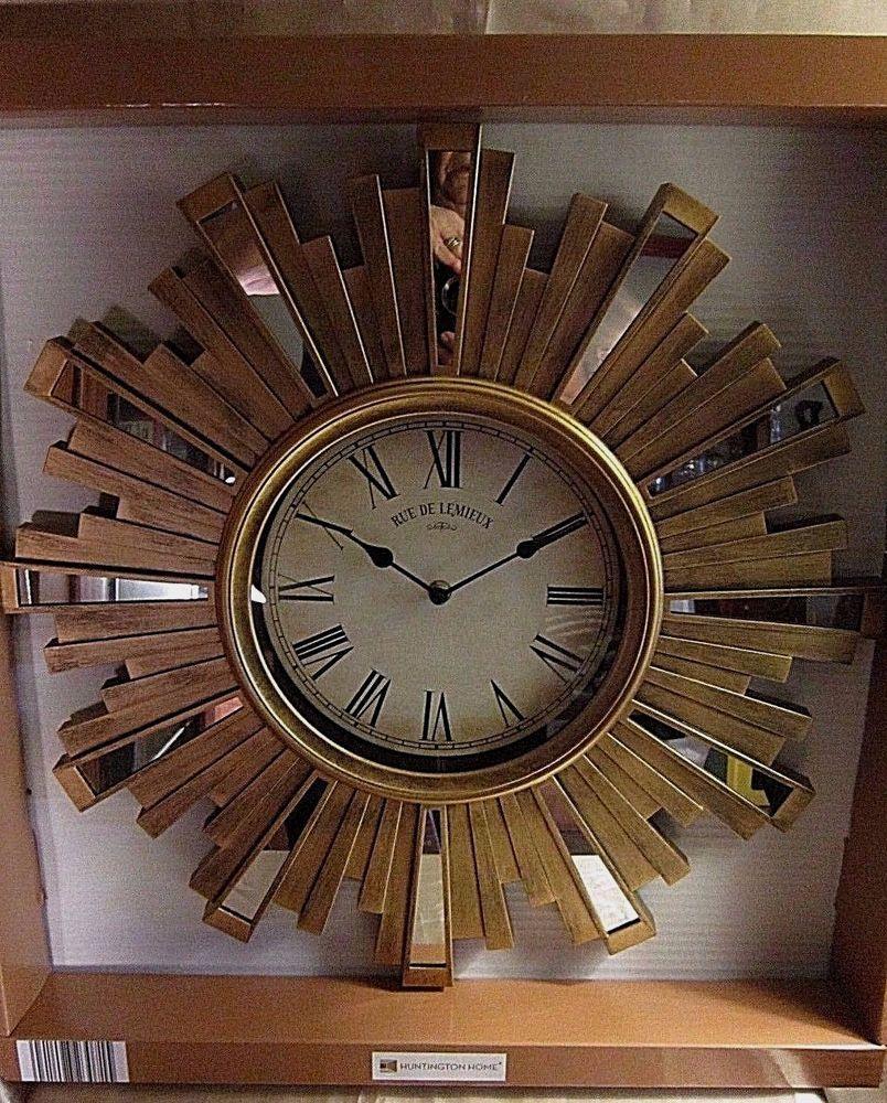 Nib Huntington Home Wall Clock Gold Sun W Off White Face Black Roman Numerals Clock Gold Sun Wall Clock