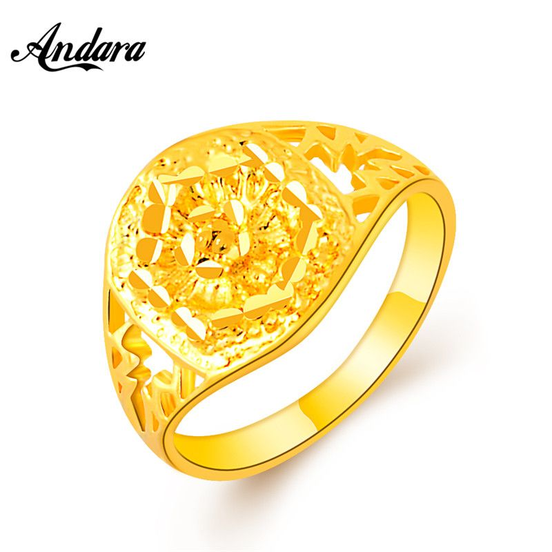 Andara 2017 New Arrival Yellow Gold Color Wedding Rings 24K Gold