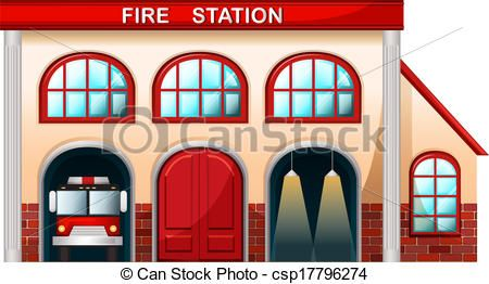 Vectors Illustration Of A Fire Station Building Illustration Of A Fire Station Csp17796274 Search Clipart Illustrat Fire Station House Fire Fairy House
