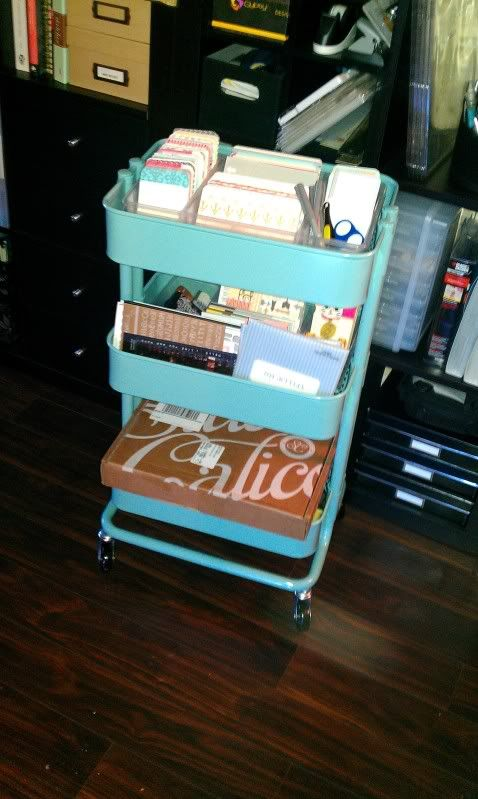 Ikea cart for craft supplies Possible homework/electronics station