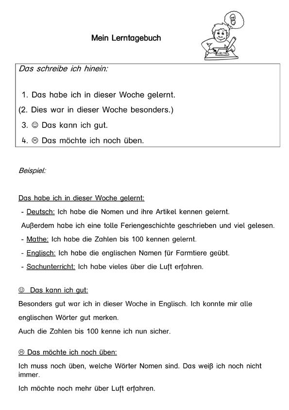 Lerntagebuch (kostenloses Arbeitsblatt) | Schule | Pinterest