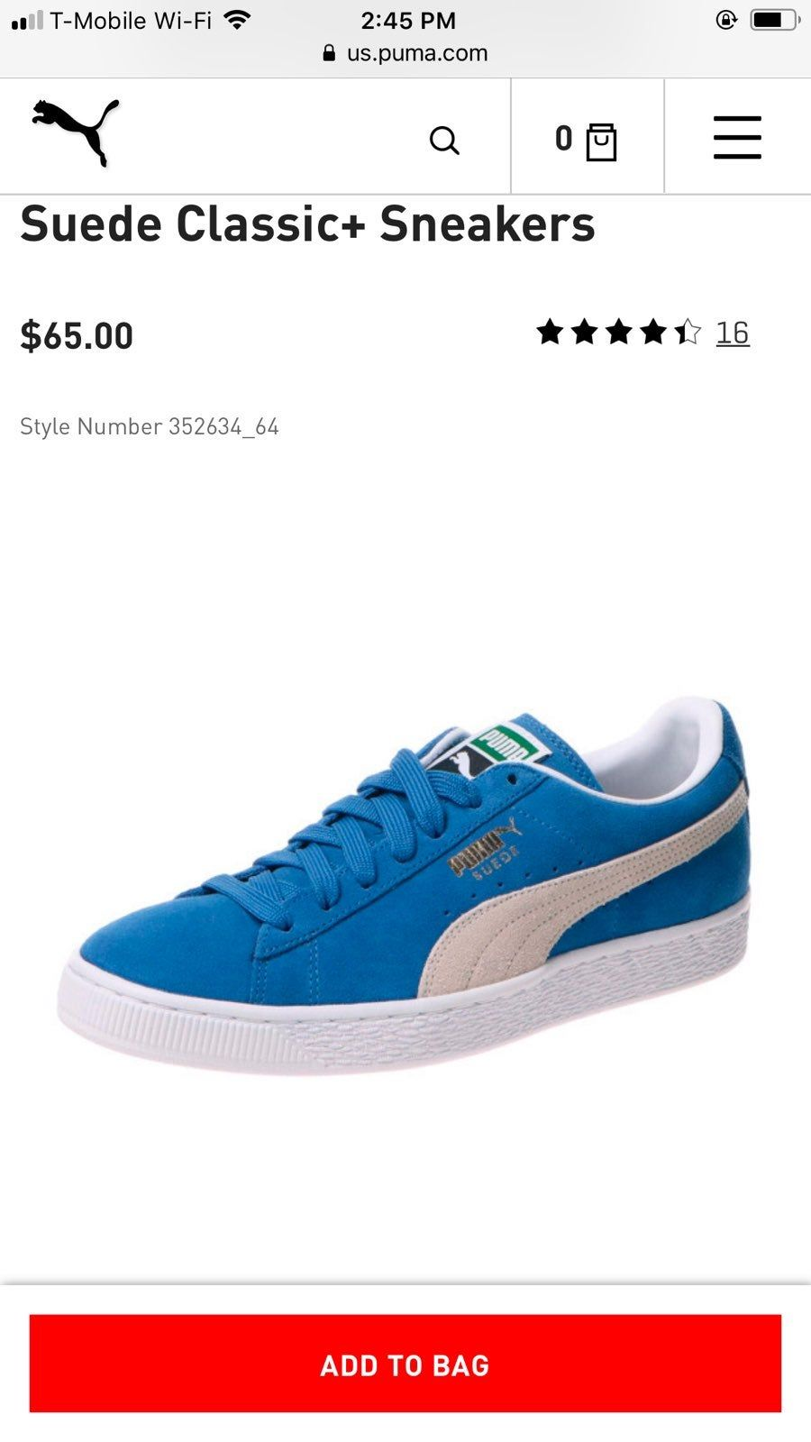 Men's 9.5 Women's 11 New and never worn | Blue puma suede