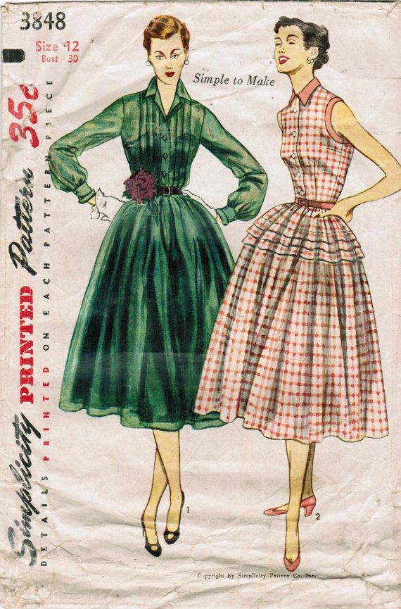 1950s Simplicity 3848 Vintage Sewing Pattern Misses Afternoon Dress ...
