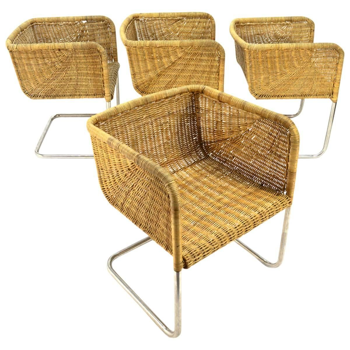 a1286dd9cb455 Set of Four Fabricius and Kastholm Chrome and Wicker Dining Chairs ...