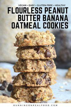 Flourless Peanut Butter Banana Oatmeal Cookies #banana #butter #cookies #flourless #oatmeal #peanut...