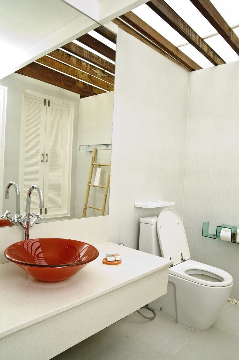 White Floating Vanity With Bold Red Vessel Sink #redvesselsink ...