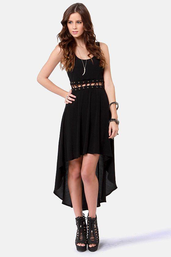 80ba16aa79 Sexy Black Dress - High-Low Dress - Cutout Dress -  56.00