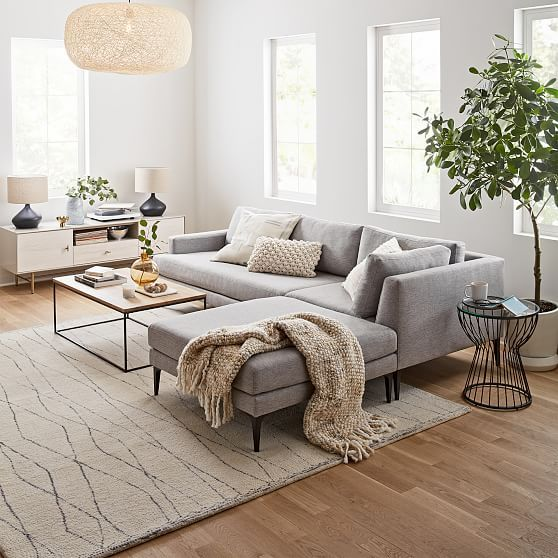 With its modern form, extra-deep seat and crisp tailoring, our spacious Andes Sectional has serious presence but feels airy and light thanks to the thin frame and cast metal legs. Its durable frame is Contract Grade and comes in your choice of width, depth and leg finish. KEY DETAILS Choose your sectional width. Choose sofa portion's overall depth: Petite (35