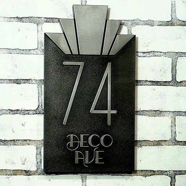 Moderne Art Deco Address Plaque