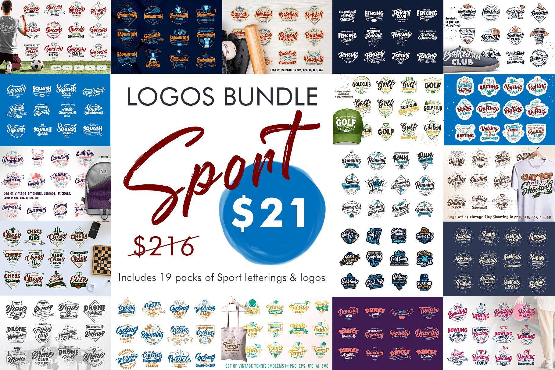 Sport Logos Bundle Sale 91 By Lettering Logo On Creativemarket Logo Bundle Letter Logo Badge Template