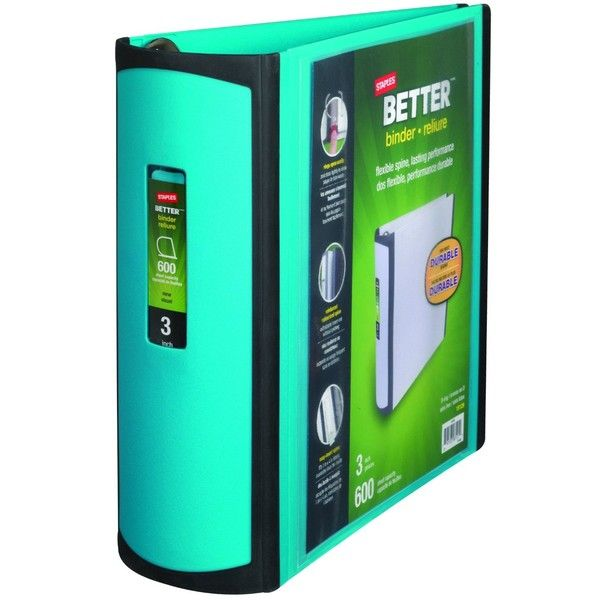Staples 3 Inch BetterView Binder with D-Rings Teal