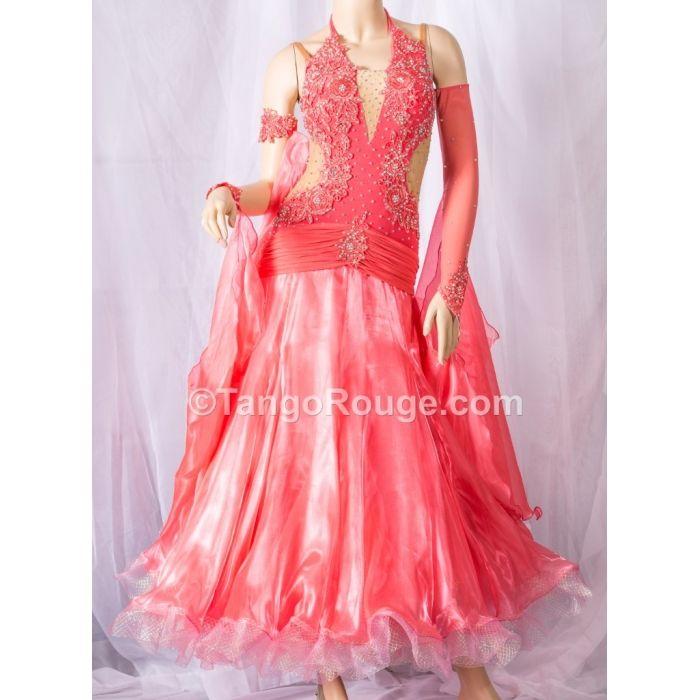 Ballroom Dance Waltz Dresses | Coral Halter Style Ballroom Waltz ...