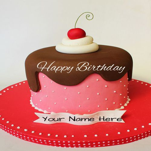 Write Name On Beautiful Cherry Birthday Cake For Friend wishes