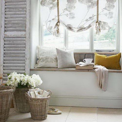Beau Beautiful Cottage Chic Window Seat Decor Including The Window Treatment,  Baskets Of Flowers Shutter.