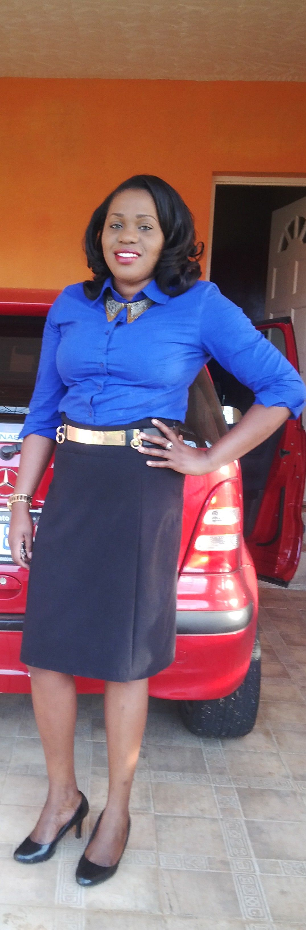 Day 25: top by Covington, Asos belt, skirt tag reads Fashion Collection, shoes by Predictions