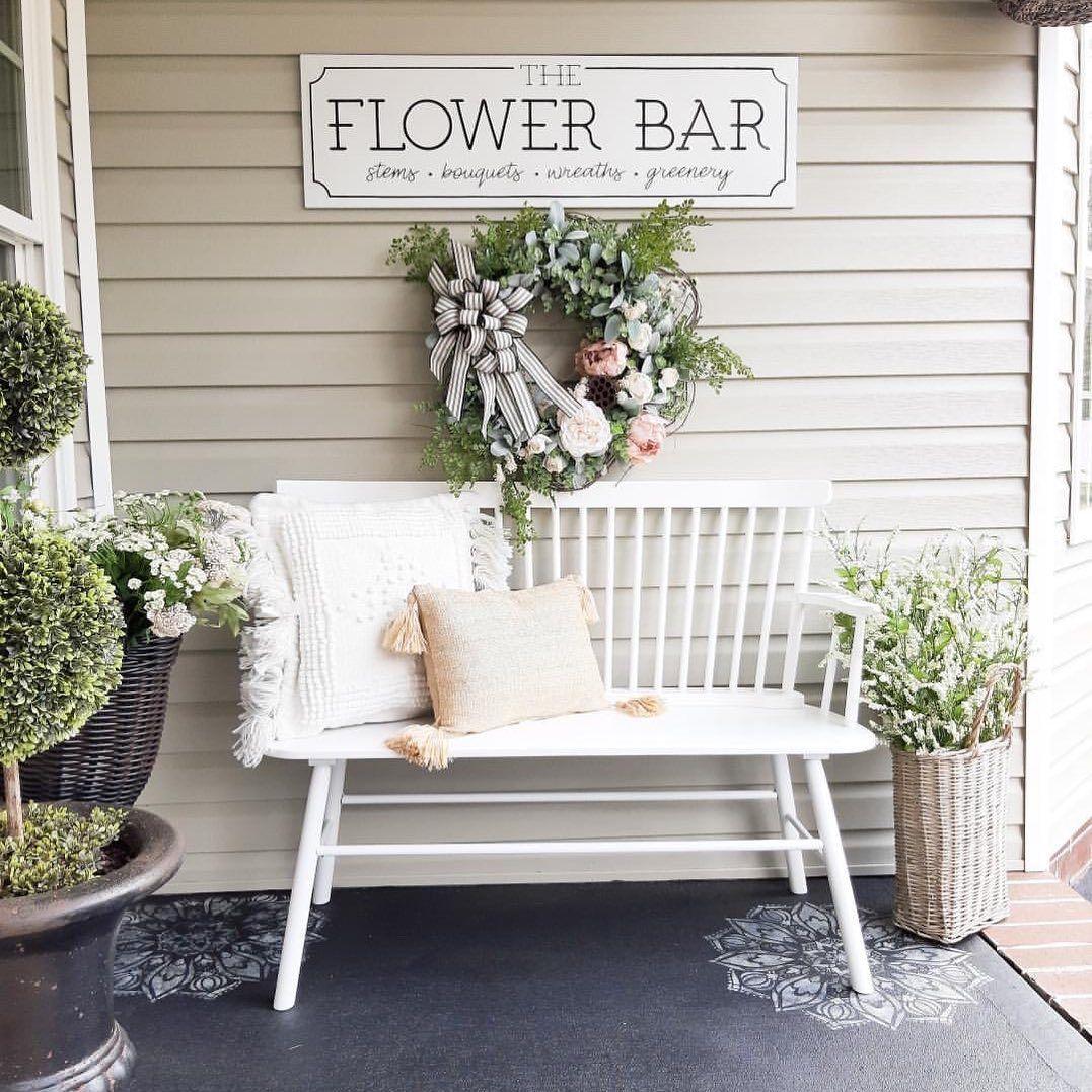 "Photo of Terrell on Instagram: ""Isn't this back patio AH-MAZINGGG?! I love the way my sweet friend Tamara @bridgewaydesigns styled my Spring Peony & Eucalyptus wreath.…"""