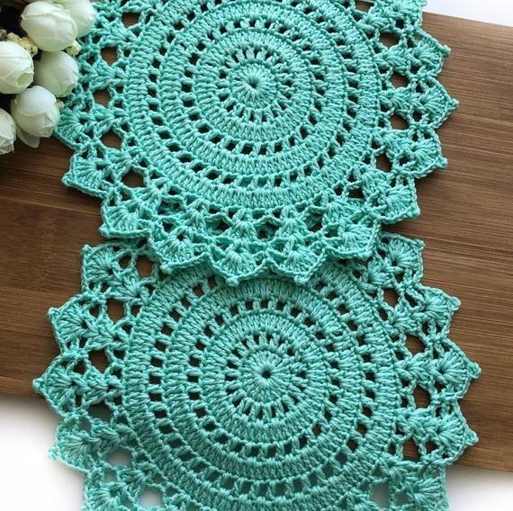 Mint Green Doilies Crochet Table Placemats Decorative Lace Etsy Crochet Doilies Crochet Coasters Crochet Placemats