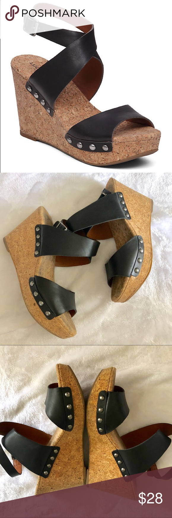 cf123522afa Lucky Brand Missey Leather Cork Wedge Sandals -Chunky cork wedges featuring  a metal buckle closure