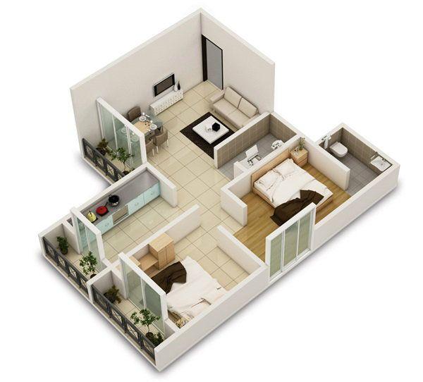 2 Bedroom Apartment House Plans Bedrooms, House and Apartments - maison en 3d gratuit