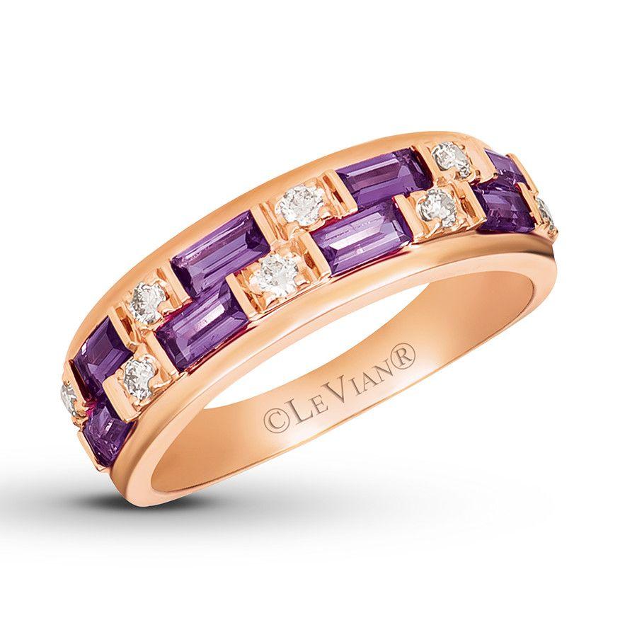 Le Vian Amethyst Ring 1 6 Ct Tw Diamonds 14k Strawberry Gold Kay