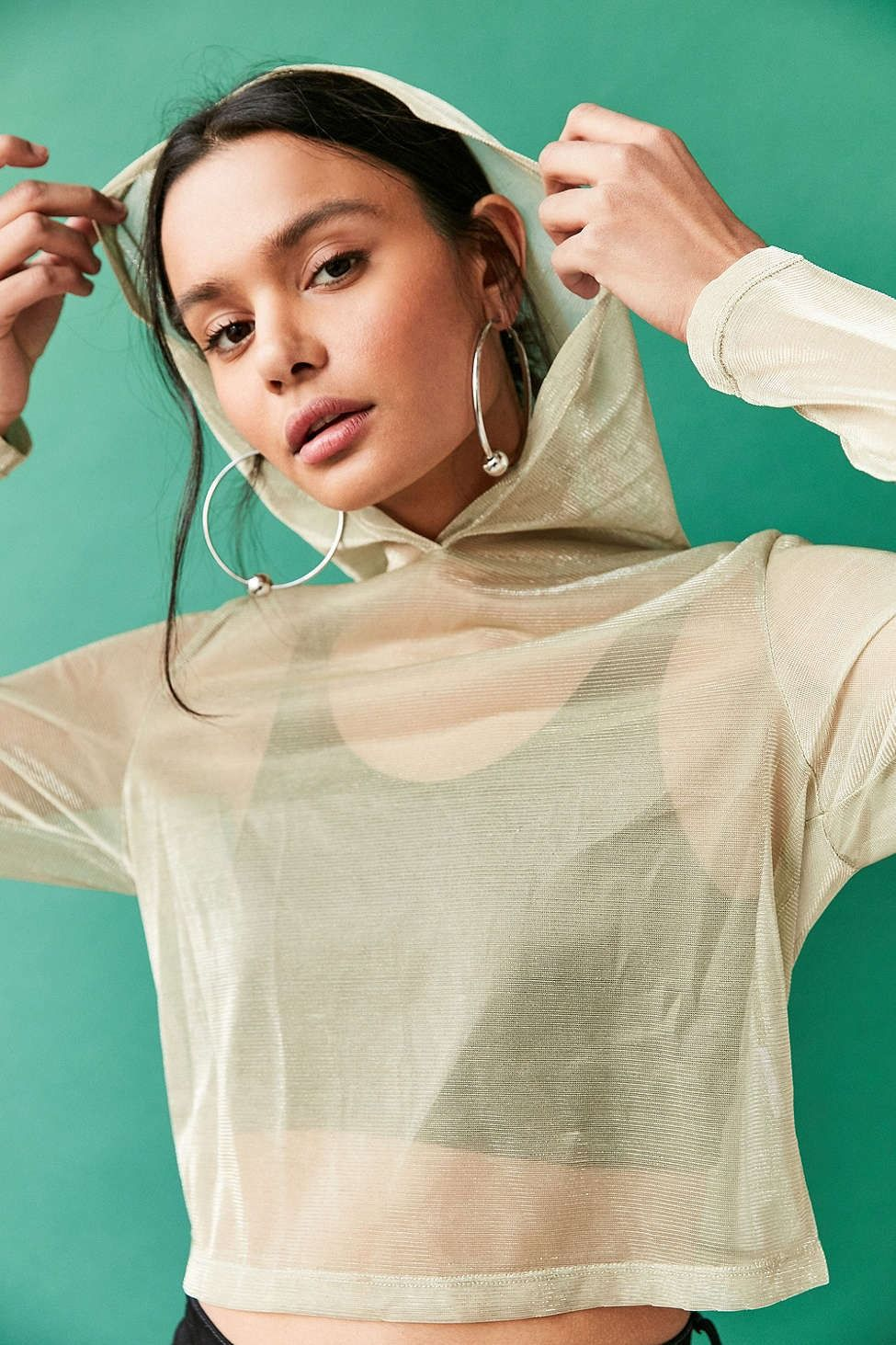 Without Walls Bika Iridescent Mesh Parachute Hoodie Tee - Urban Outfitters
