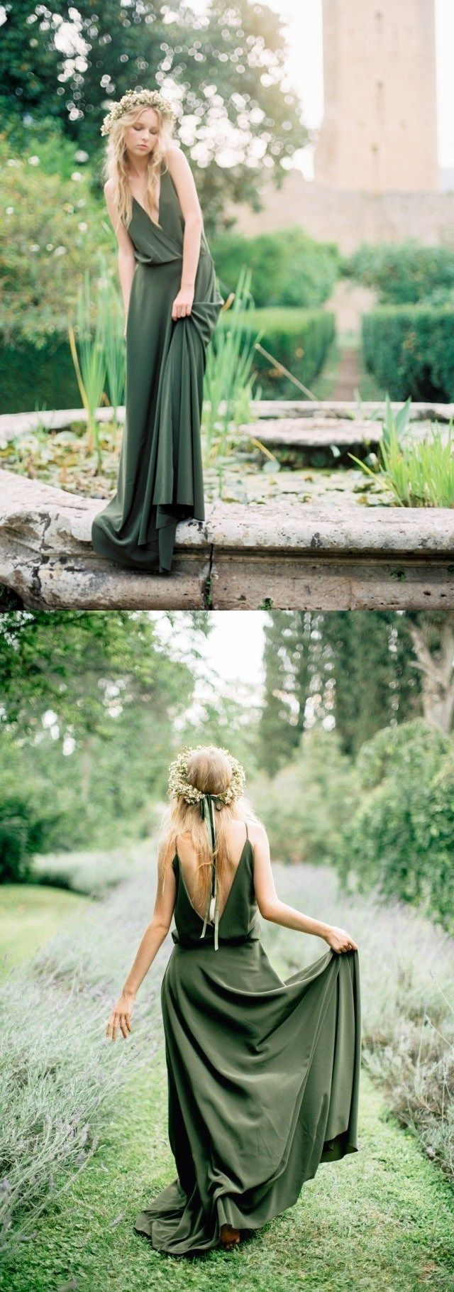 Bohemian olive green chiffon country bridesmaid dresses new cheap