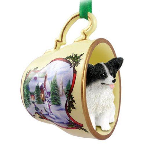 Papillon Black White Dog Tea Cup Snowman Holiday Ornament