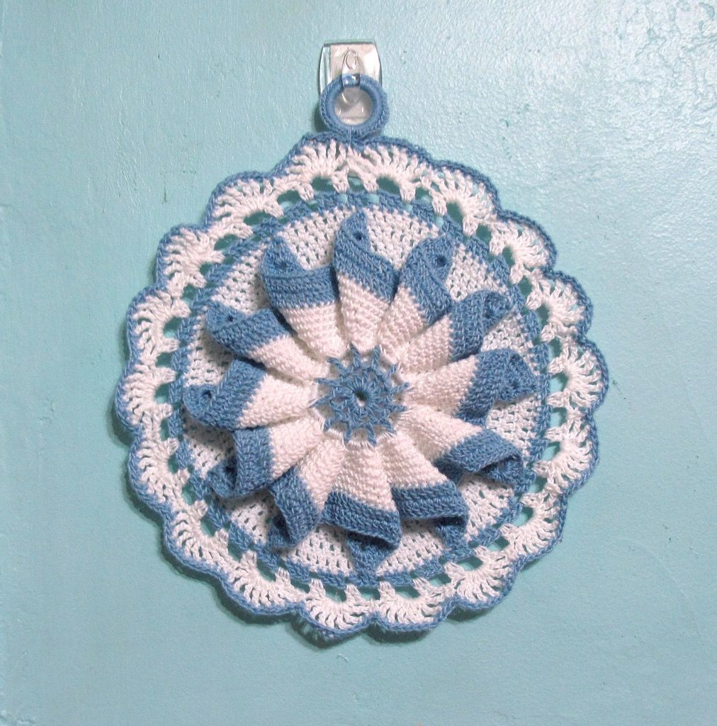 Vintage Pattern Potholder With Size 10 Thread Crochet Cloths And