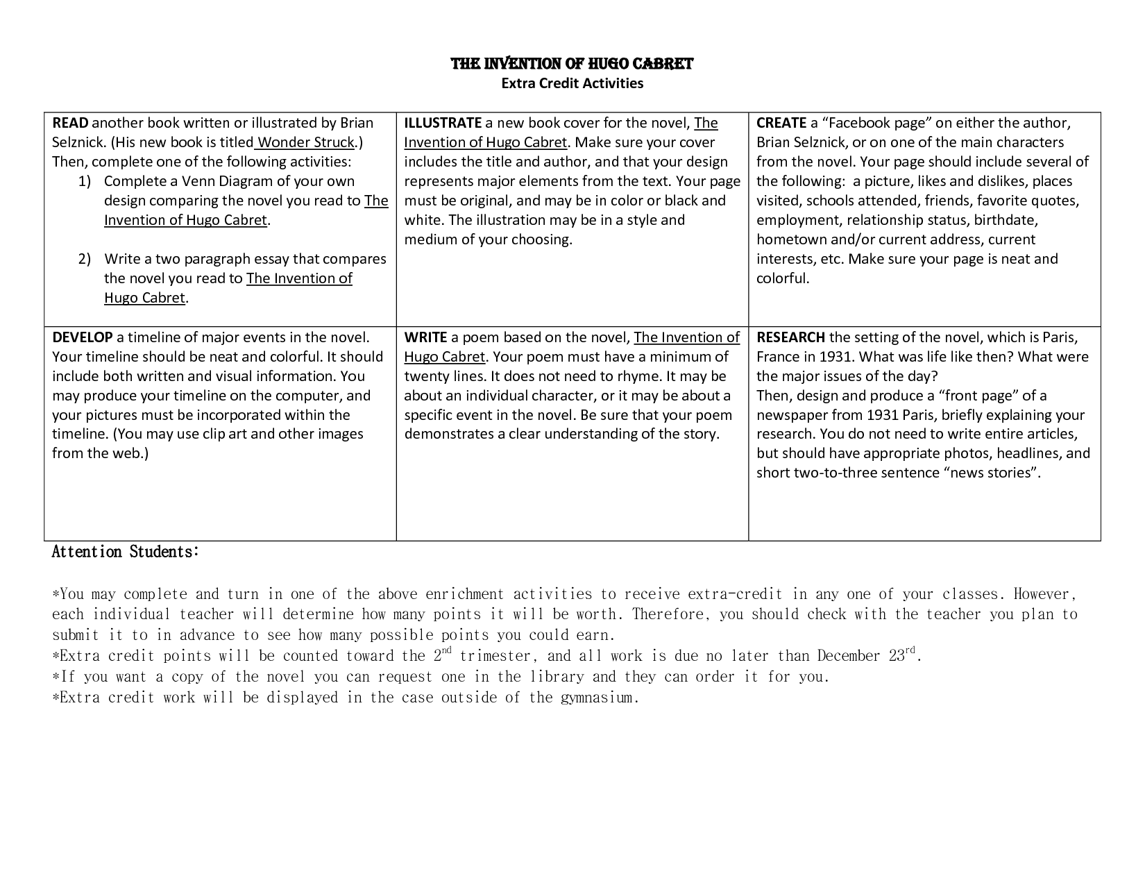 Hugo Cabret Worksheets