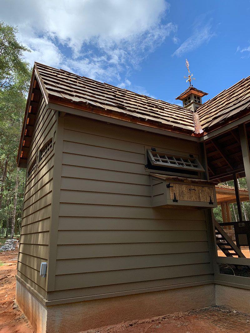 Custom Chicken Coop Designed After New Home With Reclaimed Barn Wood Clapboard Siding Hand Split Cedar Shake Roof Custom Backyard Chickens Backyard Backyard