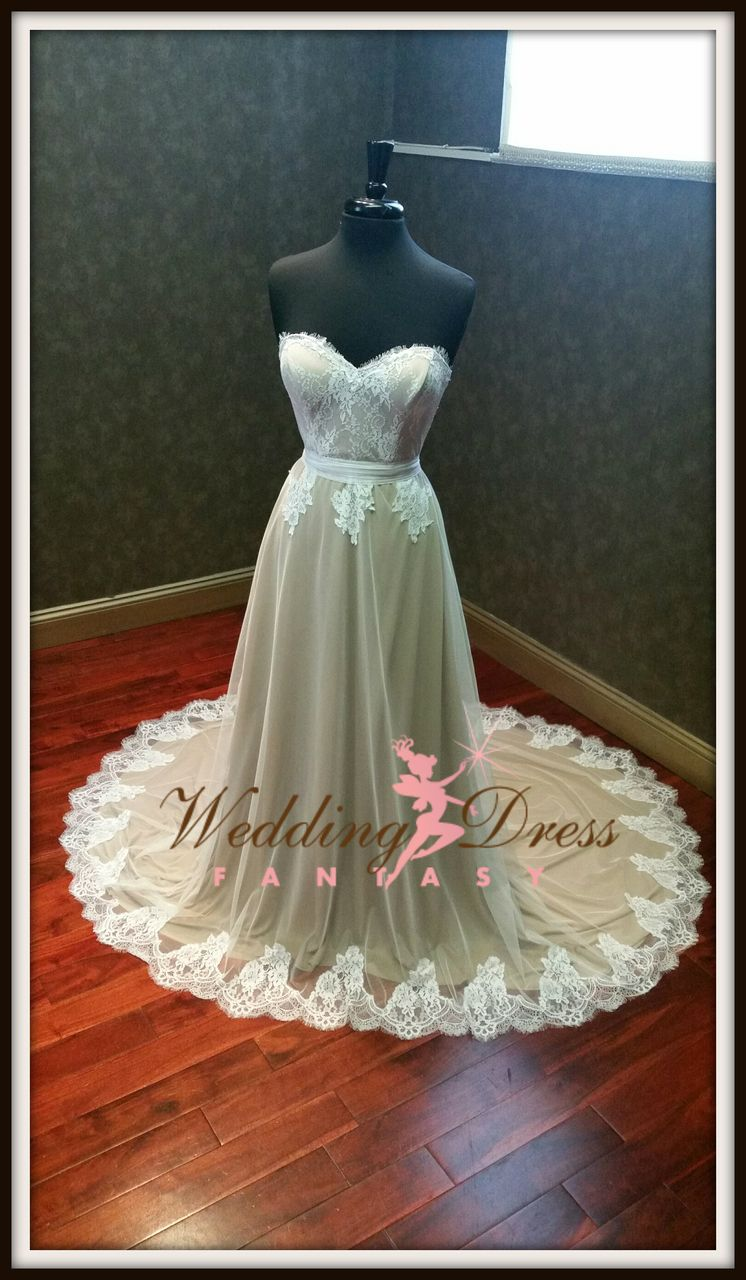 Stretch Wedding Dress Nude and Ivory Chantilly Lace