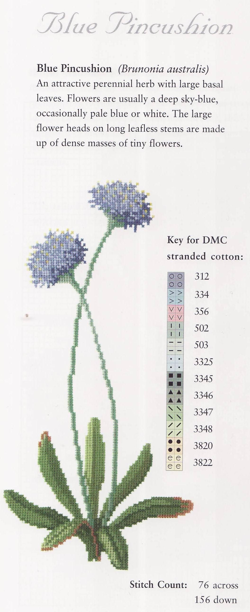 Blue Pincushion - 1/2 Cross Stitch -