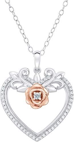 Dazzlingrock Collection Sterling Silver Womens Round Diamond Heart /& Cross Two-tone Pendant 1//20 Cttw
