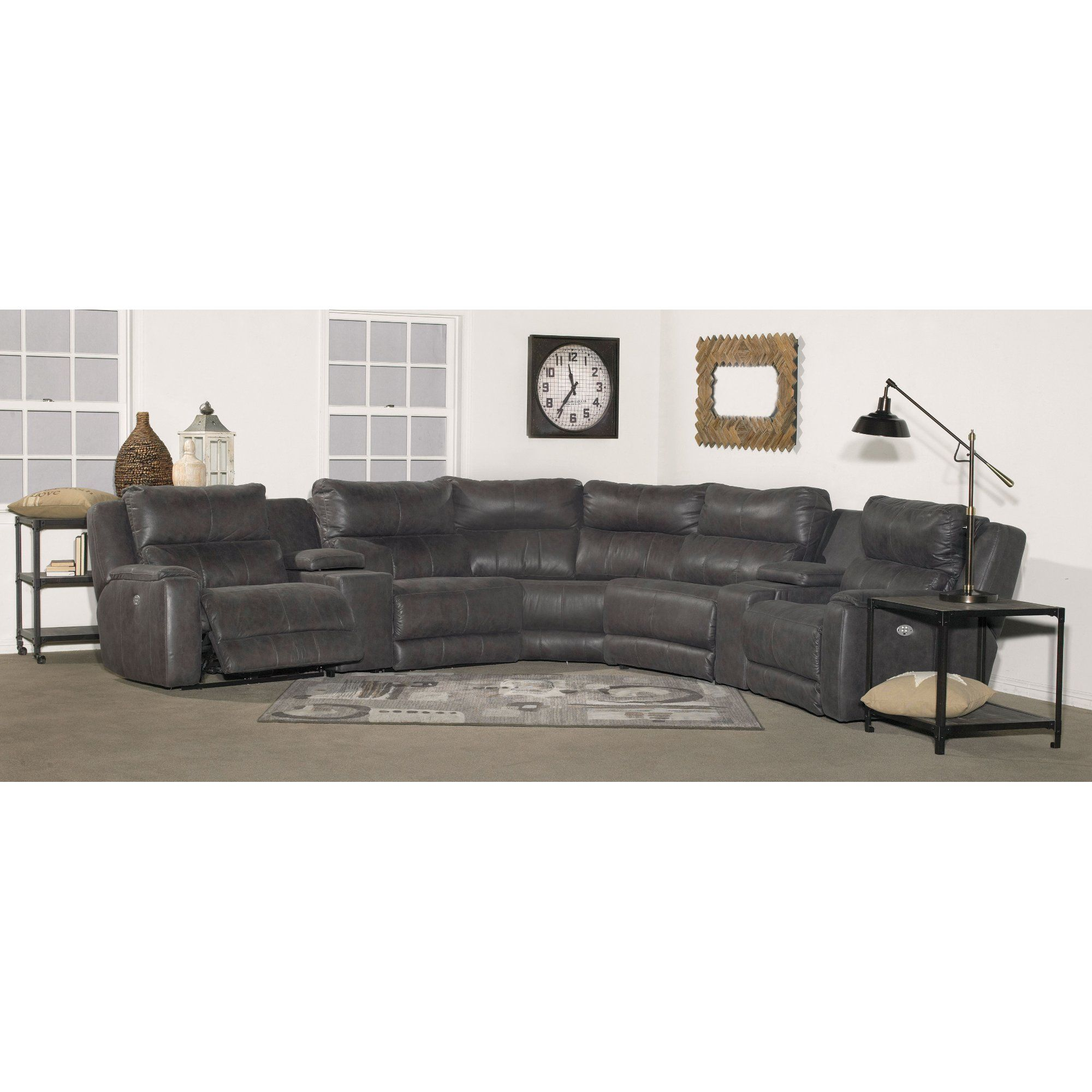 Best Slate Gray 7 Piece Power Reclining Sectional Sofa Dazzle 640 x 480