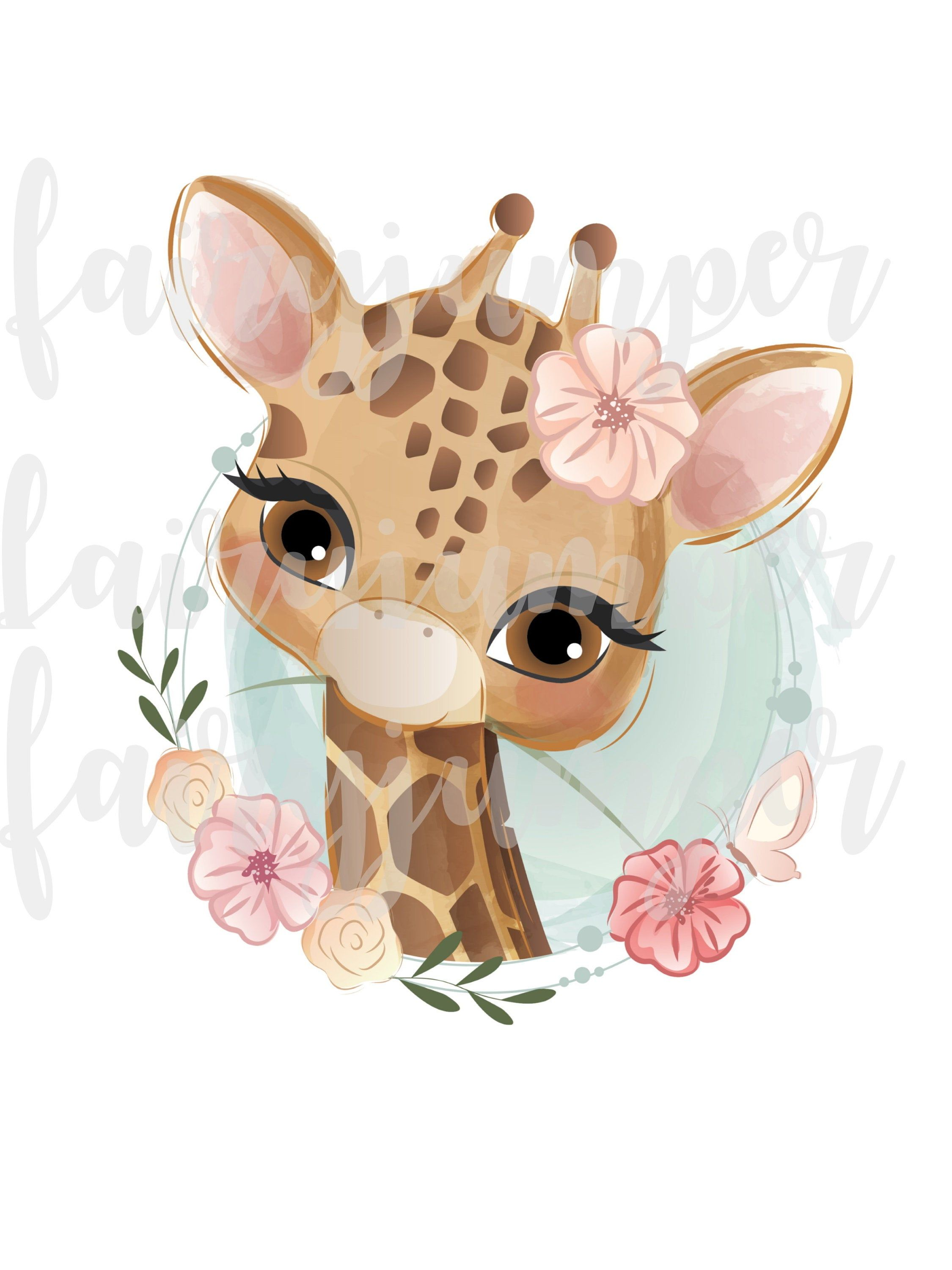 Giraffe Clipart Baby Giraffe Giraffe Watercolor Png Sublimation Graphics Transfer Instant Download Pink Flower Cr Baby Animal Drawings Baby Art Cute Art