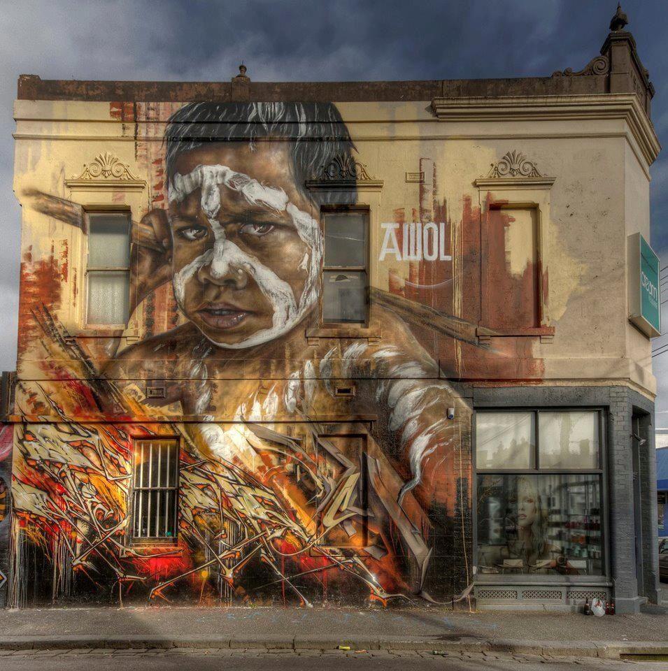 Aboriginal street art, Melbourne Australia. Murals