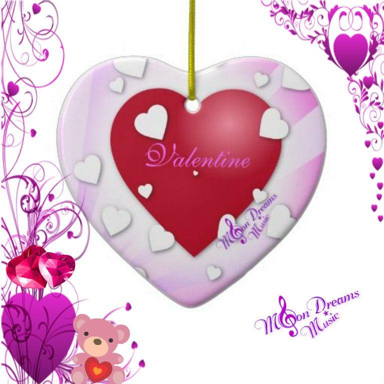 Valentine Hearts Ornament #valentine #ornament #ValentinesDay #moondreamsmusic #hearts #zazzle #pink