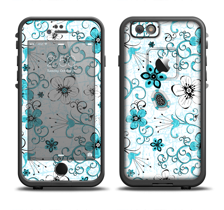 The Blue and White Floral Laced Pattern Apple iPhone 6/6s Plus LifeProof Fre Case Skin Set from DesignSkinz