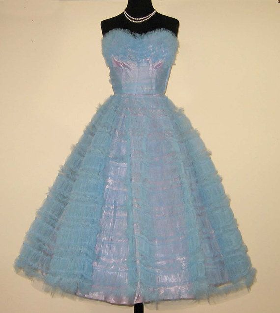 1950s prom dress~ice blue tulle over a lavender stain lining~ deliciously pretty~