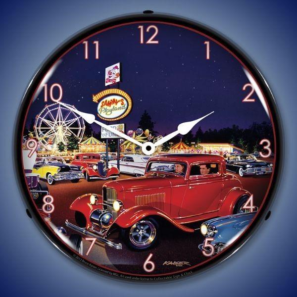 Retro Sammys Playland Led Lighted Wall Clock 14 X 14 Inches Wall Clock Light Wall Clock Clock