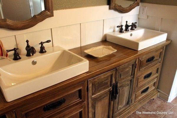 Remodelaholic How To Achieve A Restoration Hardware Weathered Oak Finish Wood Bathroom Vanity Dresser Vanity Bathroom Bathroom Design