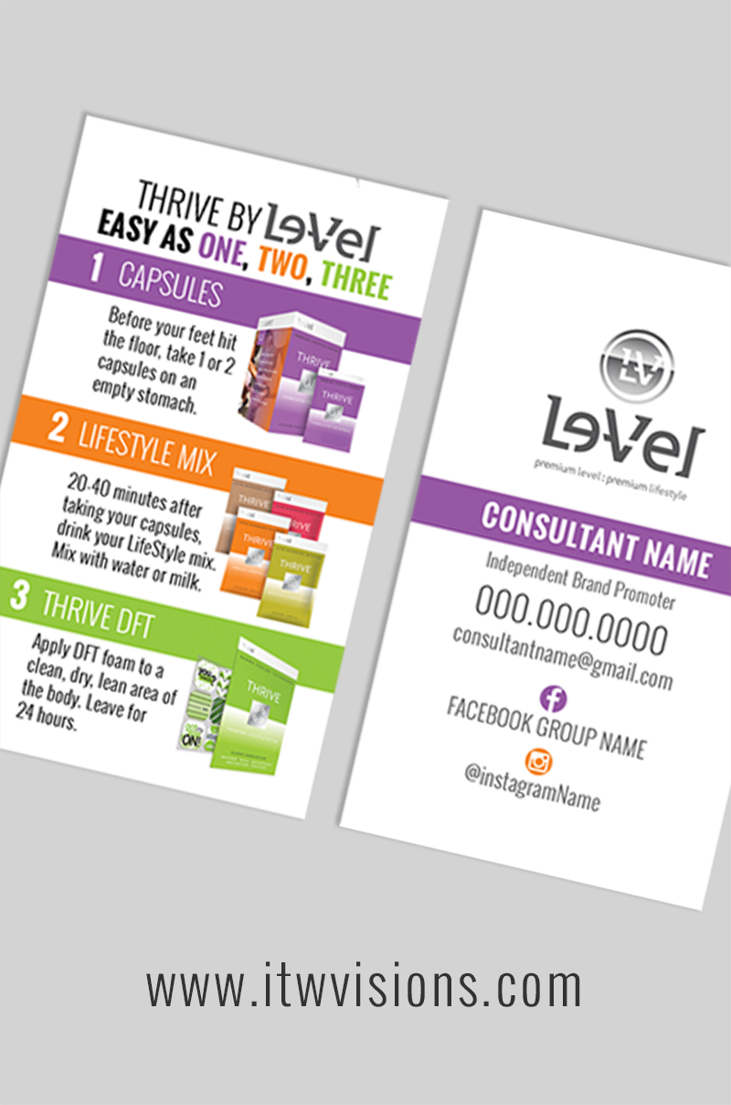 Thrive 3 Day Experience Card By Level Le Vel These Cards Can Be Customized With The Independent Brand Promoter S Name Order A