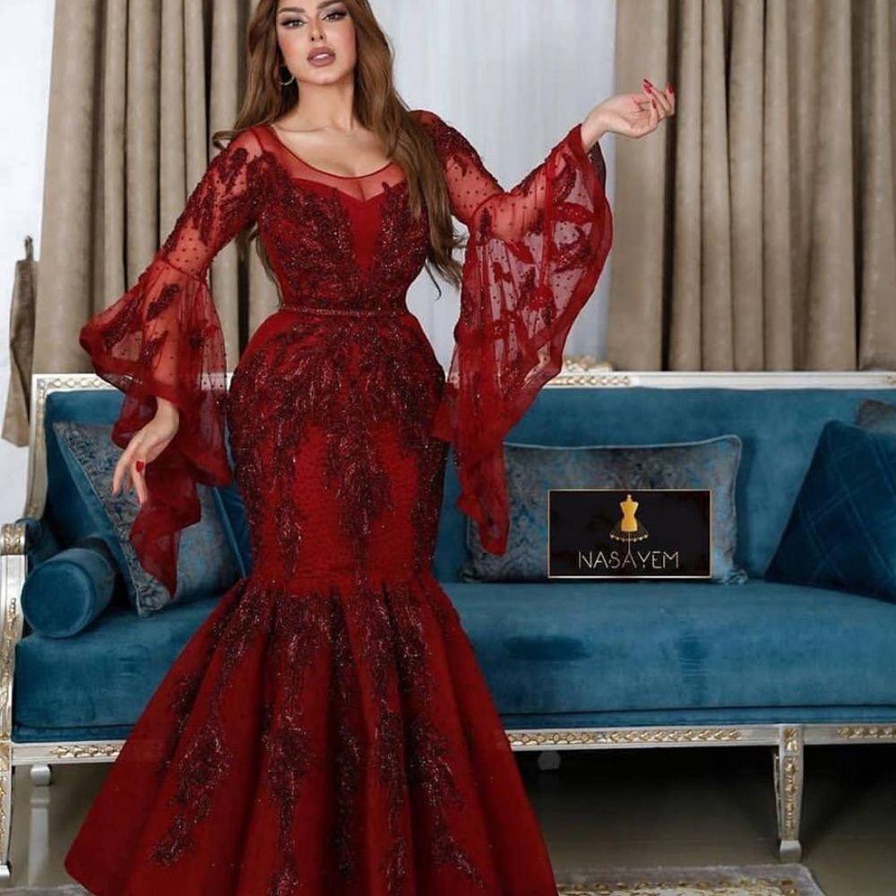 Dark Red Prom Dress Long Sleeve Crew Neckline Lace Appliques Beading Mermaid Wine Red Evening Dresses Vestidos Largos De Fiesta In 2021 Red Prom Dress Burgundy Evening Dress Prom Dresses 2020 Long Sleeve [ 1000 x 1000 Pixel ]