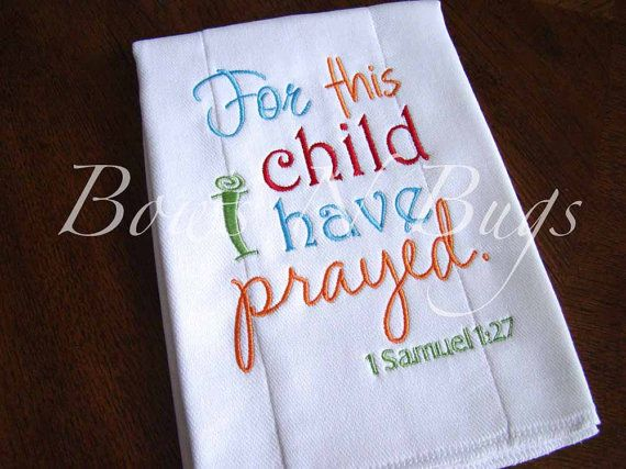 Embroidered Burp Cloth With Bible Verse