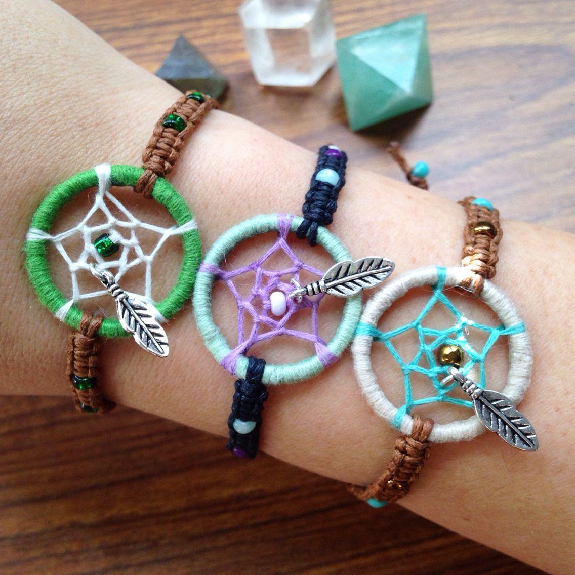 Handmade mini dream catcher bracelets  by knottybychoice! shop on Etsy!!  Www.etsy.com/shop/knottybychoice