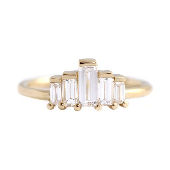 Art Deco Engagement Ring, Baguette Engagement Ring, Five
