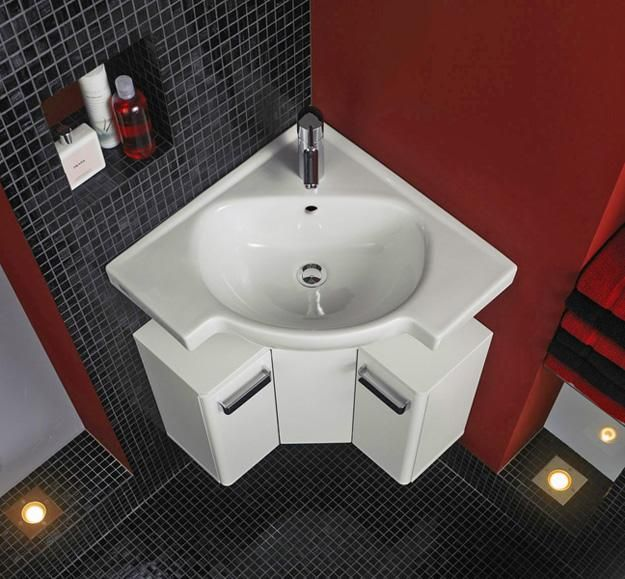corner bathroom sinks creating space saving modern. Black Bedroom Furniture Sets. Home Design Ideas