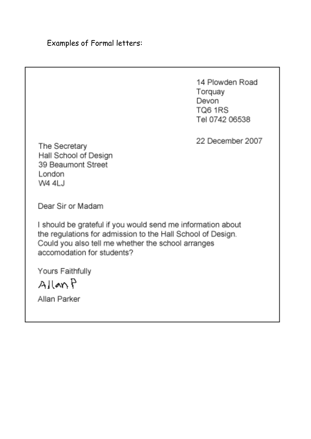 Formal Letter Example  Classroom Idea    Letter Example